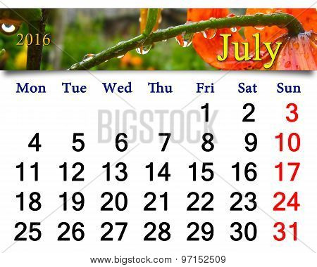 Calendar For July 2016 With Red Lilies With Drops Of Water