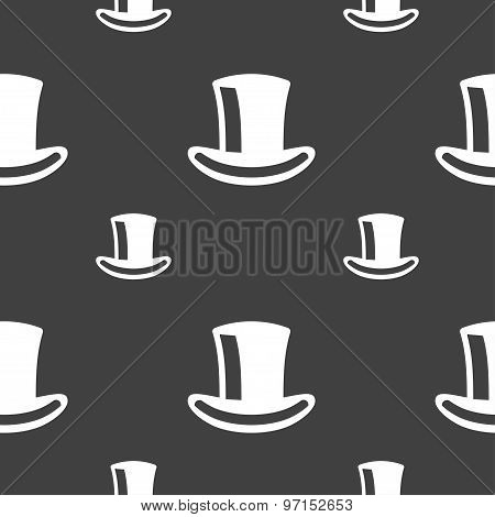 Cylinder Hat Icon Sign. Seamless Pattern On A Gray Background. Vector