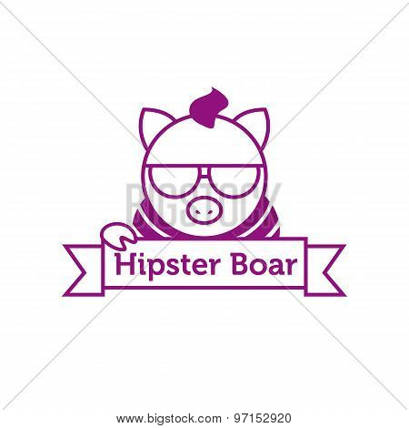 Vector hipster boar in sunglasses outline logotype