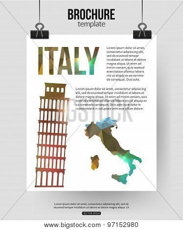 Italy travel background. Brochure with Italy  map, Pisa label or logo and place for text. Italy symb