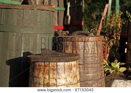 A Few Very Old Wood Barrels