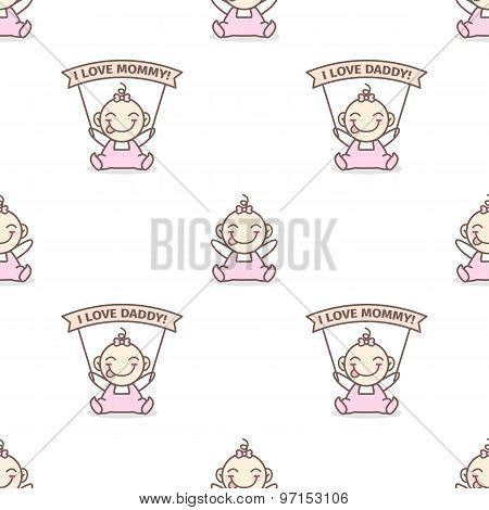 Vector baby girl with love Mommy and Daddy posters seamless pattern