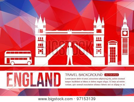 England travel background with place for text. Isolated Great Britain symbols for your design.