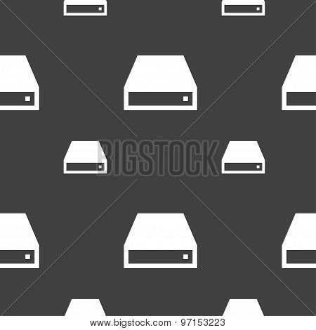 Cd-rom Icon Sign. Seamless Pattern On A Gray Background. Vector