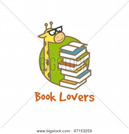 Vector funny giraffe logotype. Book store logo.