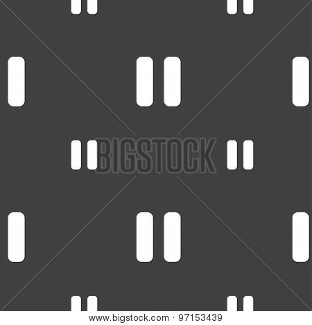 Pause Icon Sign. Seamless Pattern On A Gray Background. Vector