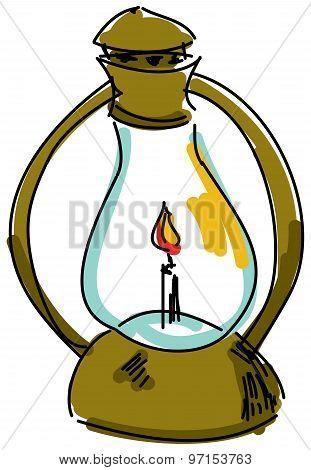 Drawn oil lamp