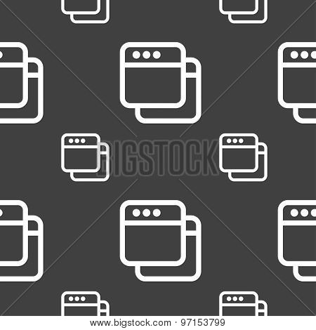 Simple Browser Window Icon Sign. Seamless Pattern On A Gray Background. Vector
