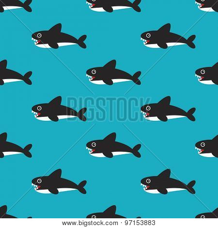 Seamless kids magical under water world colorful retro fish shark illustration background pattern in vector
