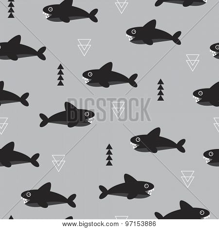 Seamless kids magical under water world colorful geometric triangle fish shark illustration black white and gray background pattern in vector