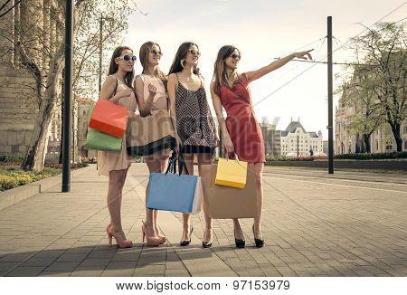 Four girls doing shopping