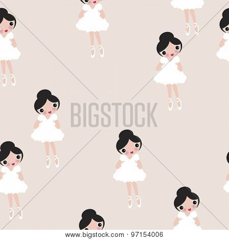 Seamless cute ballerina illustration dancing girls soft white and beige pastel kids colorful background pattern in vector