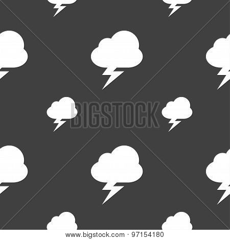 Storm Icon Sign. Seamless Pattern On A Gray Background. Vector
