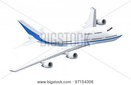 A 3D rendering of an Airplane isolated on white