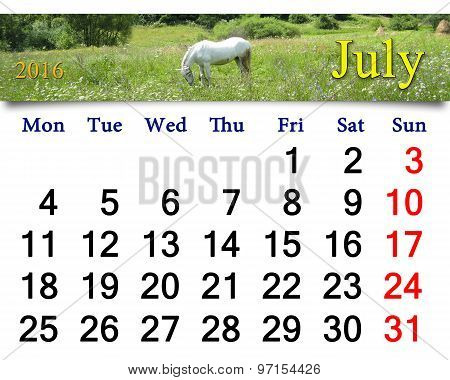 Calendar For July 2016 With Horse In The Summer Field