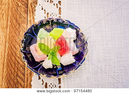 Turkish Delight On A Blue Plate
