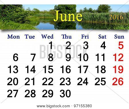 Calendar For July 2016 On The Background Of Summer