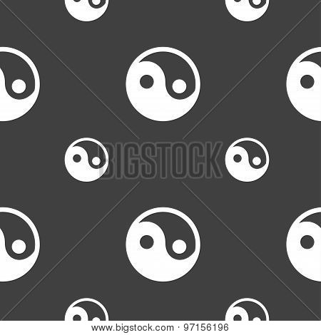 Ying Yang Icon Sign. Seamless Pattern On A Gray Background. Vector