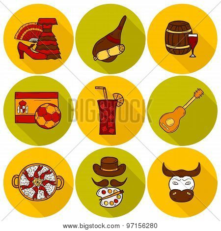 Set of cartoon drawn icons on Spain theme: flag, bull, ball, flamenco, guitar, jamon. Travel europe