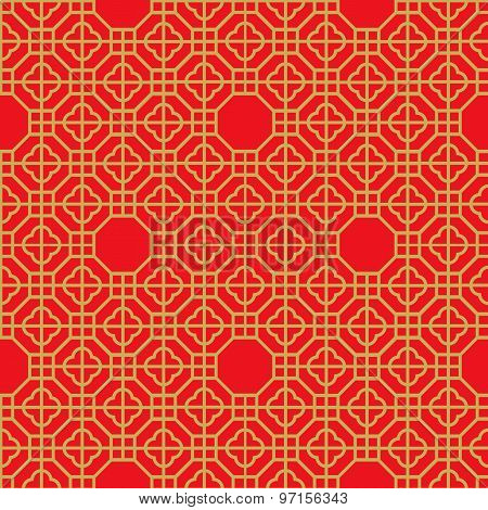 Seamless vintage Chinese window golden polygon geometry check pattern background.