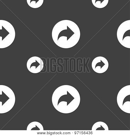 Arrow Right, Next Icon Sign. Seamless Pattern On A Gray Background. Vector