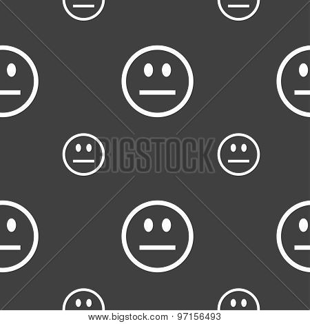 Sad Face, Sadness Depression Icon Sign. Seamless Pattern On A Gray Background. Vector