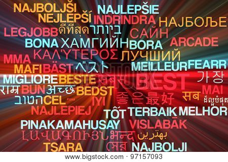 Background concept wordcloud multilanguage international many language illustration of best glowing light