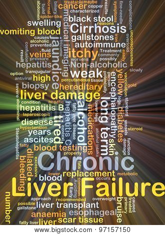 Background concept wordcloud illustration of chronic liver failure glowing light