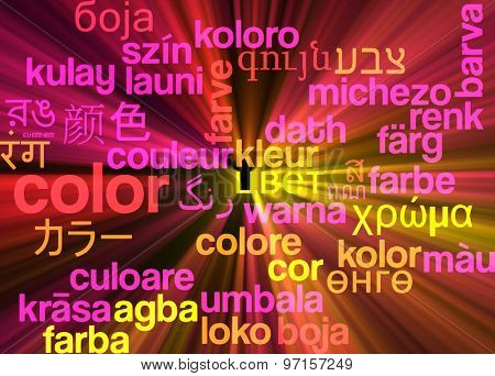 Background concept wordcloud multilanguage international many language illustration of color glowing light