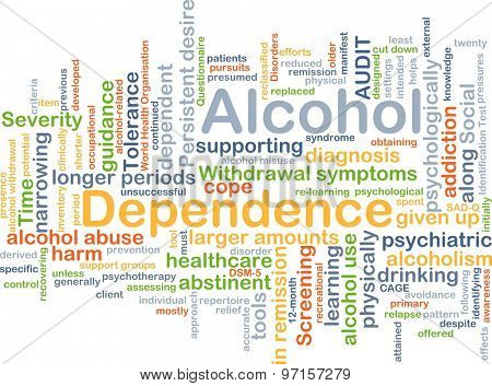 Background concept wordcloud illustration of alcohol dependence