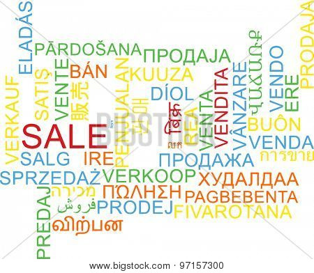 Background concept wordcloud multilanguage international many language illustration of sale