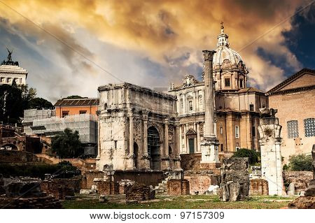 Roman Forum at sunset in Rome, Italy