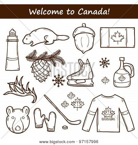 Set of cartoon hand drawn objects on Canada theme: maple syrup, hockey stick, puck, bear, horn, flat