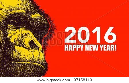 The year of monkey. Chinese new year 2016. Monkey year. JPEG version.
