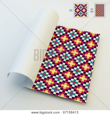 Seamless Vector Background. Colorful Patchwork Quilt. A4 Business Blank. Can Be Used For Advertising, Marketing, Presentation.