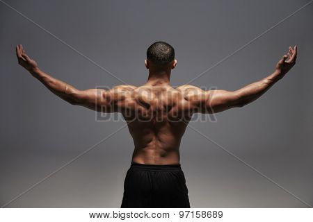 Male bodybuilder raising his arms, back view