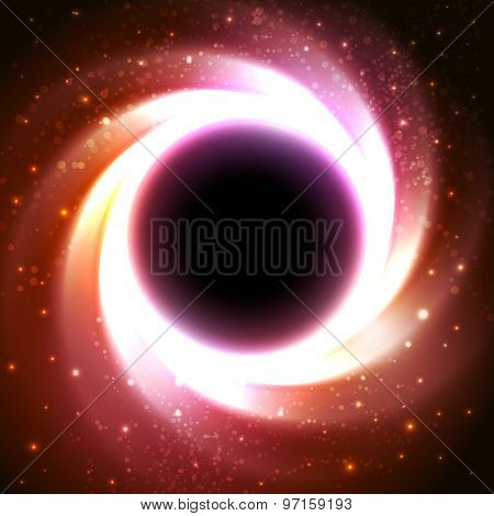 Black hole at the galactic center. Space vector background
