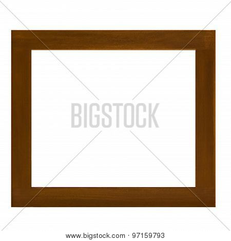 Brown wooden picture isolated on white background