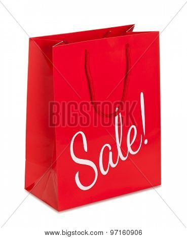 Vibrant red blank paper shopping bag with sale print  isolated with clipping path on white background