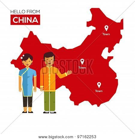 Chinese couple in national costumes on a background map