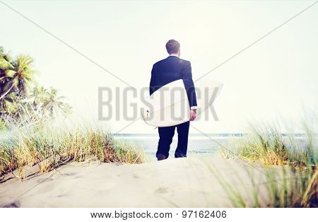 Businessman Surfer Activity Beach Vacations Concept