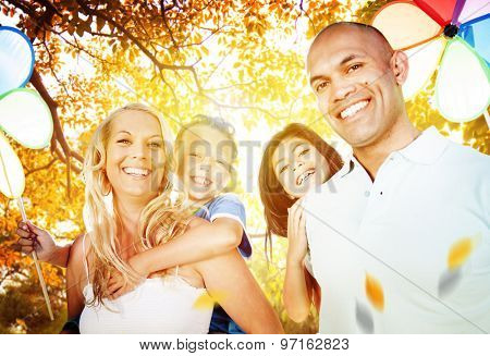 Family Playing Outdoors Children Autumn Concept