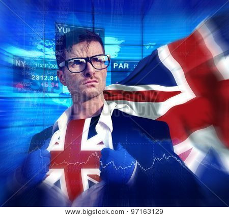 Superhero Businessman UK Stock Market Concept