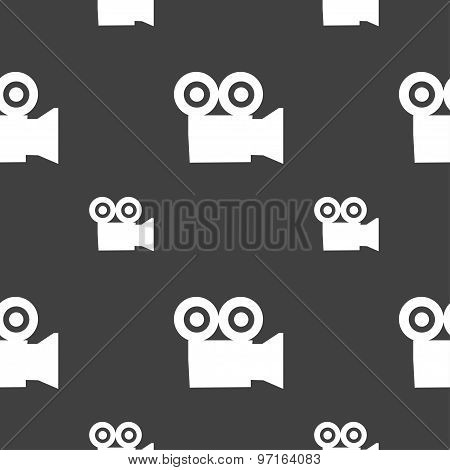 Video Camera Icon Sign. Seamless Pattern On A Gray Background. Vector