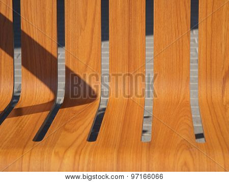 The Seat Is Wooden Benches On The Street Closeup