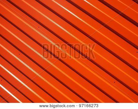 Orange Metal Corrugated Sheet Metal Closeup
