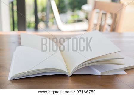 Blank catalog, magazines,book mock up on wood background ( moving page )