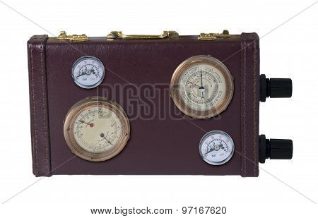 Power Briefcase Shown By Dials And Gauges On The Side Of It