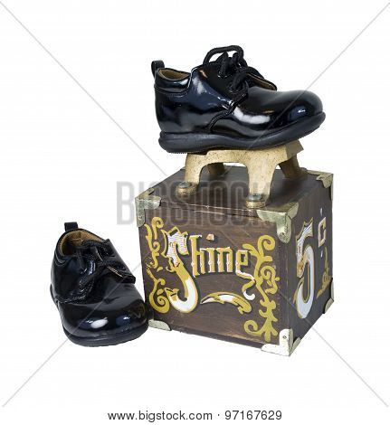 Shiny Black Shoes On A Shoe Shine Box