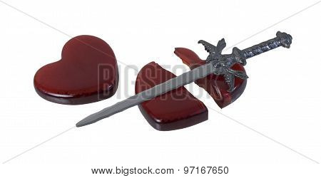 Broken Red Glass Heart With A Sword